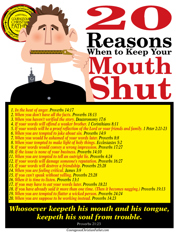 20 Reasons When to Keep Your Mouth Shut Printable