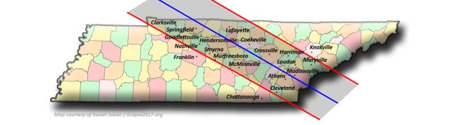 Solar Eclipse 2017 - Tennessee Map of Observance #SolarEclipse ##SolarEclipse2017