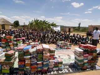 US Donors Collect School Supplies for Children Around the World - Since 1993, Operation Christmas Child has delivered shoebox gifts to more than 146 million children in more than 150 countries and territories. (photo: Zimbabwe)