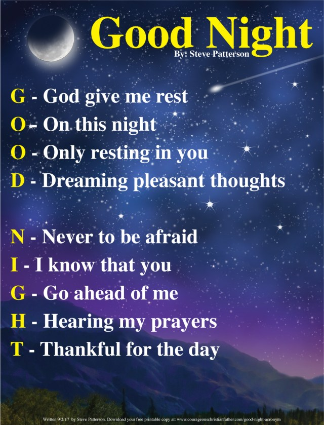 Good Night Acronym Printable #GoodNight