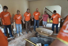 Samaritan's Purse Deploys Disaster Response Teams to Florida and the Caribbean. Similar to this team that was sent following the devastating flooding in Greenbriar, West Virginia, in June 2016, Samaritan's Purse volunteers gathered to pray before starting relief work.