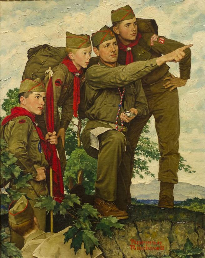 Girls in the Boy Scouts of America? Here is an old Boy Scouts of America artwork from Normal Rockwell