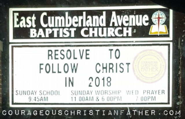 Resolve to Follow Christ Church sign from East Cumberland Avenue Baptist Church in Morristown, TN