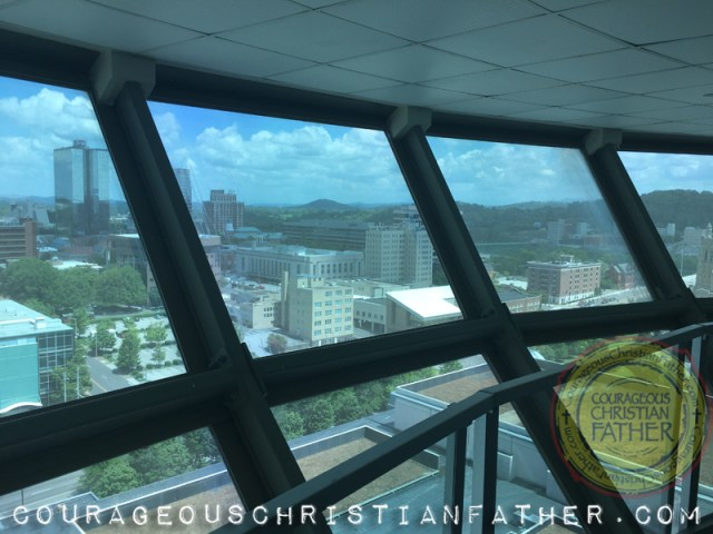 This is a view of Downtown Knoxville from the fourth level observation deck of the Sunsphere in Knoxville, TN. (1982 World's Fair site)