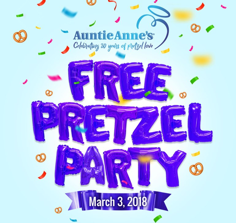 Free Pretzel Party for Auntie Anne's 30th Birthday - If Auntie Anne's can get one million RSVP's they will give away one free pretzel to everyone. Let's help them get one million! #HBDAuntieAnnes