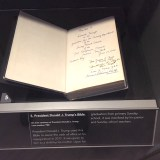 Close-up of President Trump's Inauguration Bible that joined Other Presidential Bibles at Museum of the Bible.   Photo Credit: DeMoss