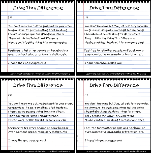 Drive Thru Difference Printable 4 to a page