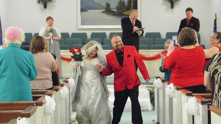 Steve & Heather married dancing and leaving to the Peanuts Theme Song. | Photo Credit: Jessie Neal