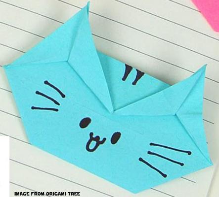 Origami Cat - Cat Origami - Paper Cat - Post-It® Note Crafts - Origami Cat Corner Bookmark (Image from Origami Tree)
