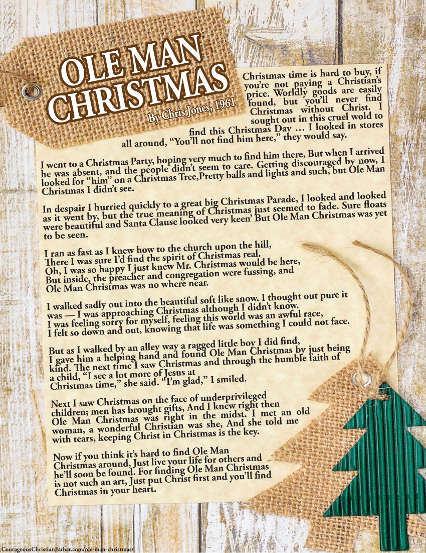 Ole Man Christmas Printable