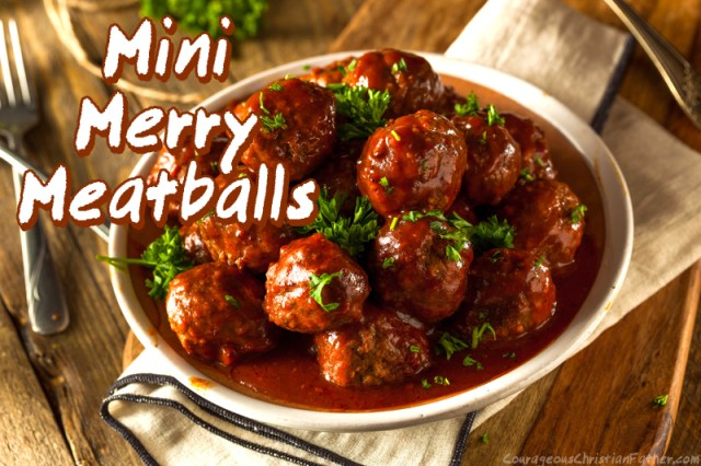 Mini Merry Meatballs - Paired with a cranberry barbecue sauce, these savory appetizers are bursting with flavor and Christmas Party appeal. #MeatBalls #MerryMeatBalls #MiniMerryMeatballs