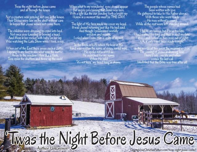 Twas the Night Before Jesus Came Printable
