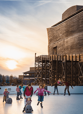Guests ice skate on Glice Rink at The Ark Encounter.
