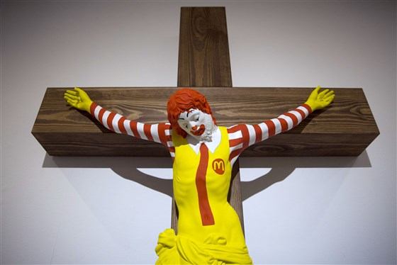 """The """"McJesus"""" artwork was sculpted by Finnish artist Jani Leinonen. Photo: Oded Balilty / AP"""