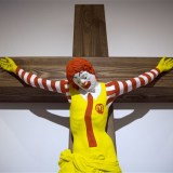 "The ""McJesus"" artwork was sculpted by Finnish artist Jani Leinonen. Photo: Oded Balilty / AP"