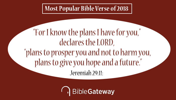 "Bible Gateway Announces the Most Popular Bible Verse of 2018 - This Bible verse has more than 2 billion pageviews during 2018. Out of more than 2 billion pageviews conducted by visitors to Bible Gateway during 2018, the most popular verse for the year was Jeremiah 29:11: ""For I know the plans I have for you,"" declares the LORD, ""plans to prosper you and not to harm you, plans to give you hope and a future."""