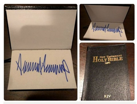 Autographed Bible signed by President Donald Trump sells on ebay for $325.