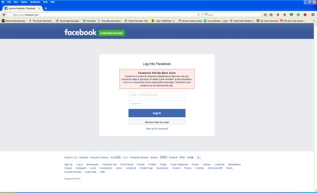 Facebook Down, Instagram Down - Many people report that the social media sites Facebook and Instagram are down.