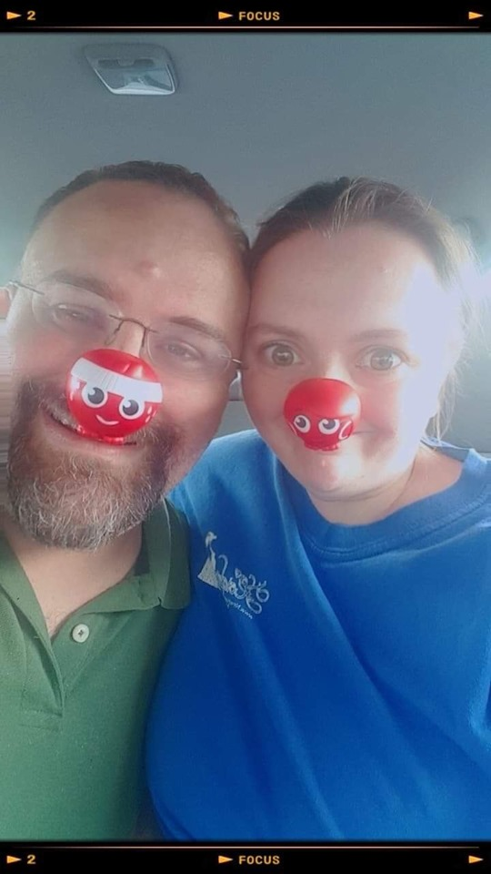 Steve & Heather Patterson with their Hero Red Noses on Red Nose Day 2019 - Red Nose Heroes  (Rusty on Steve & Scarlet on Heather) #RedNose #NosesOn  | Photo Credit: Heather Patterson