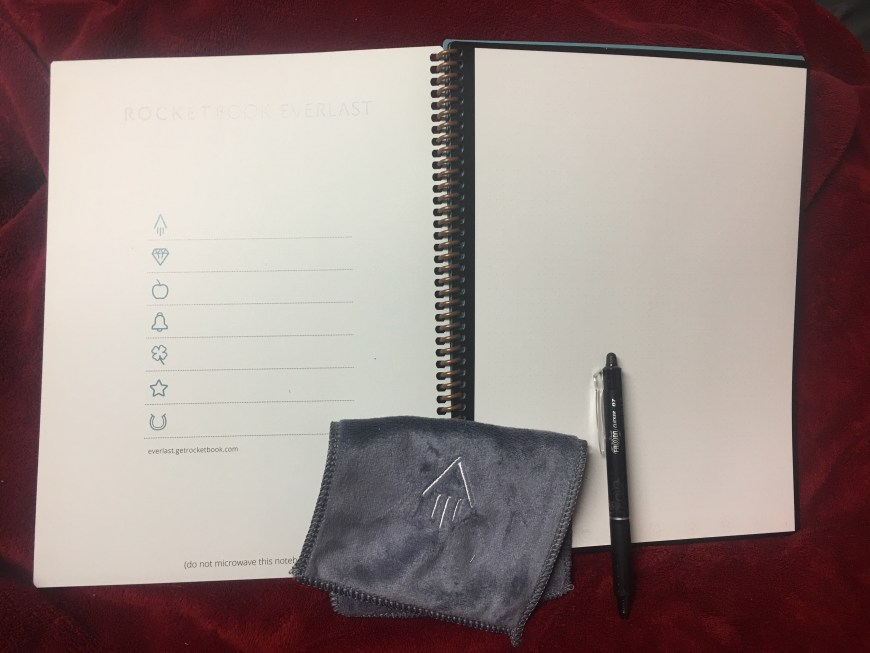 Rocketbook Everlast Inside with Pilot FriXon pen and wiping cloth