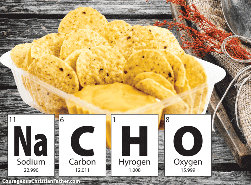 Nacho cheese spells Na-C-H-O which on the periodical table spells out Sodium, Carbon, Hydrogen & Oxygen.