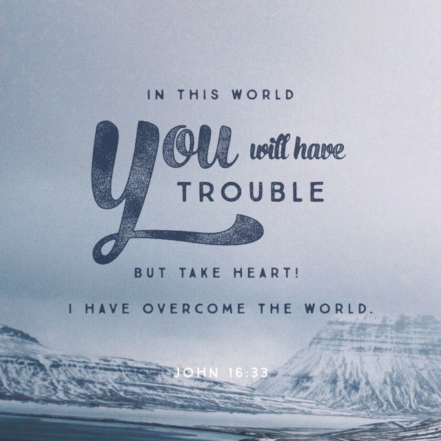 VOTD July 5, 2019 - These things I have spoken to you, so that in Me you may have peace. In the world you have tribulation, but take courage; I have overcome the world. JOHN 16:33 NASB