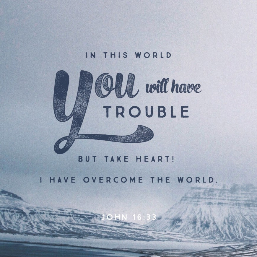 VOTD July 5, 2019 - These things I have spoken to you, so that in Me you may have peace. In the world you have tribulation, but take courage; I have overcome the world. JOHN‬ ‭16:33‬ ‭NASB‬‬