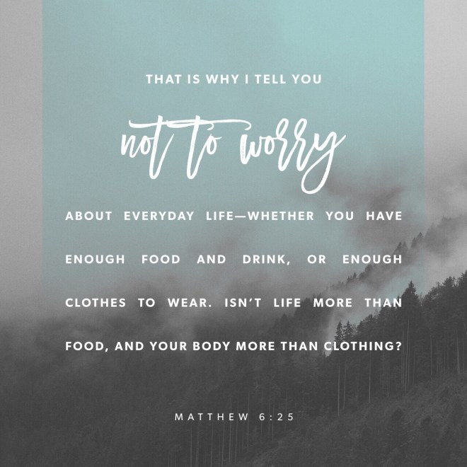 VOTD July 6, 2019 - For this reason I say to you, do not be worried about your life, as to what you will eat or what you will drink; nor for your body, as to what you will put on. Is not life more than food, and the body more than clothing? MATTHEW 6:25 NASB