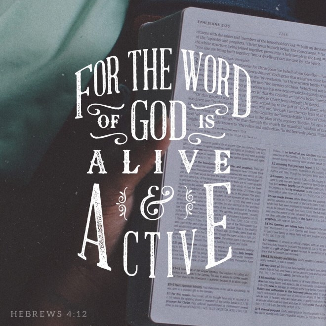 VOTD July 22, 2019 - For the word of God is living and active and sharper than any two-edged sword, and piercing as far as the division of soul and spirit, of both joints and marrow, and able to judge the thoughts and intentions of the heart. HEBREWS 4:12 NASB
