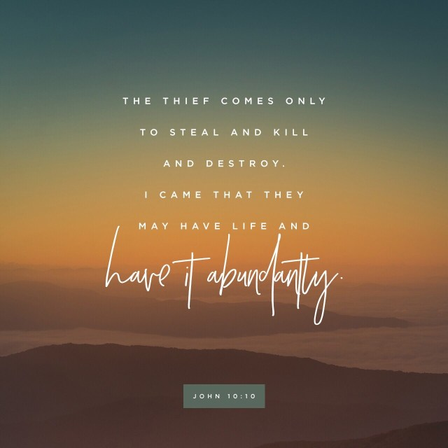 VOTD July 24 - The thief comes only to steal and kill and destroy; I came that they may have life, and have it abundantly. JOHN 10:10 NASB