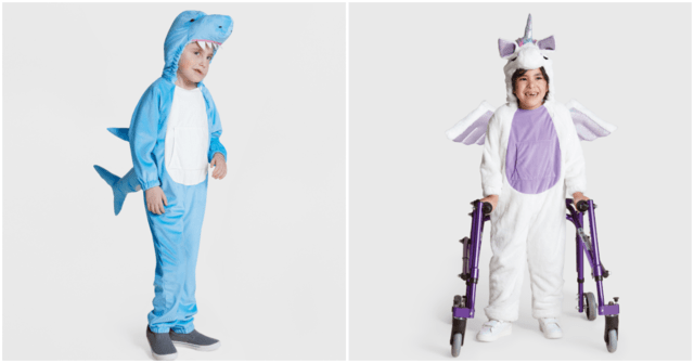 The plush shark and unicorn costumes are designed for kids with sensory sensitivities. Halloween Costumes for those in wheel chairs, sensory issues