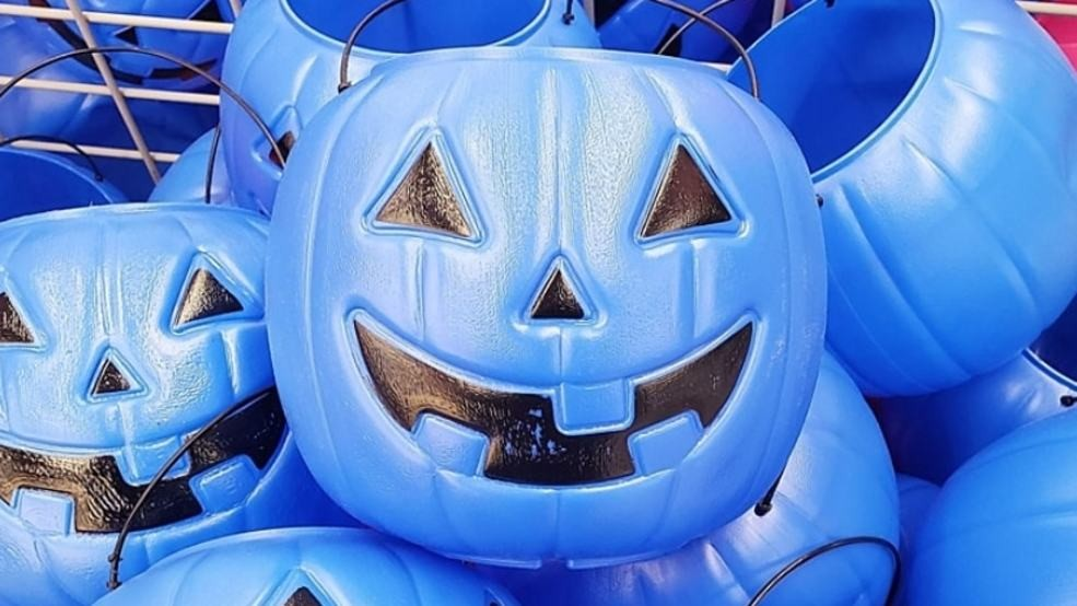 Blue Halloween Candy Buckets for Autism
