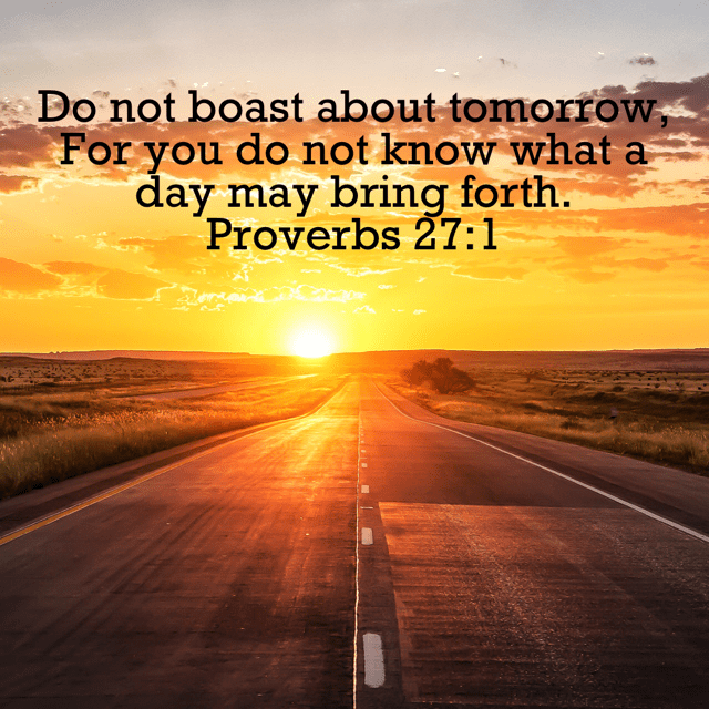"""VOTD November 8 - """"Do not boast about tomorrow, For you do not know what a day may bring forth."""" Proverbs 27:1 NASB"""