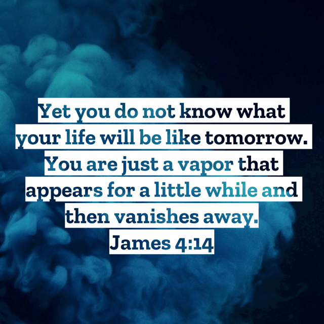 """VOTD November 19 - """"Yet you do not know what your life will be like tomorrow. You are just a vapor that appears for a little while and then vanishes away."""" James 4:14 NASB"""