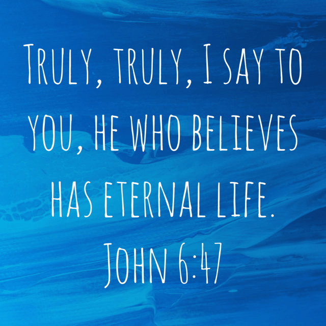 """VOTD November 23 - """"Truly, truly, I say to you, he who believes has eternal life."""" John 6:47 NASB"""
