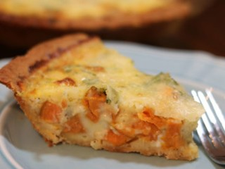 Sweet Potato Quiche - Sweet potatoes are a favorite side dish at Thanksgiving dinner tables. Packed with vitamins, nutrients, fiber, and delectable flavor, sweet potatoes have earned their place on holiday dinner tables. While many holiday hosts bake, fry or mash their sweet potatoes, these beloved tubers can be prepared in other ways as well. #SweetPotatoQuiche Photo: North Carolina Sweet Potato Commission