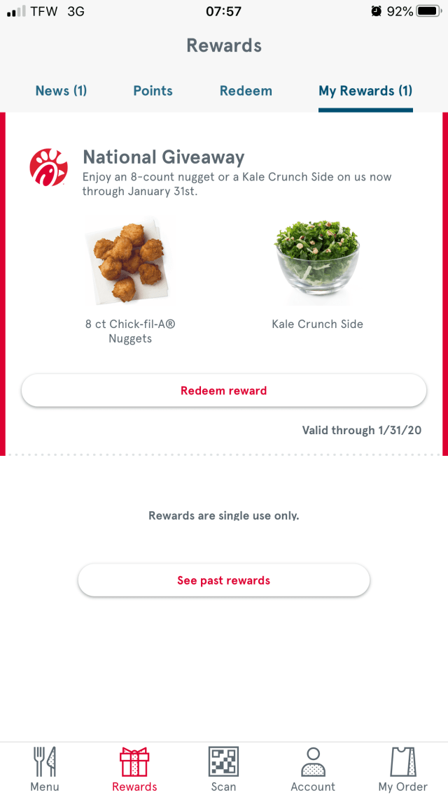 Chick-fil-A Mobile App Customers Get Free Classic Nuggets in January - Kale Crunch Side will also be added to Chick-fil-A restaurant menus nationwide. #Chickfila