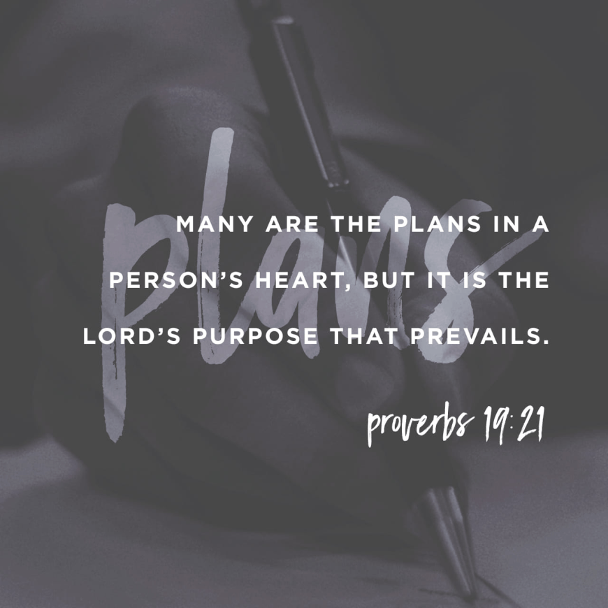 """VOTD March 21 - """"Many plans are in a man's heart, But the counsel of the LORD will stand."""" Proverbs 19:21 NASB"""
