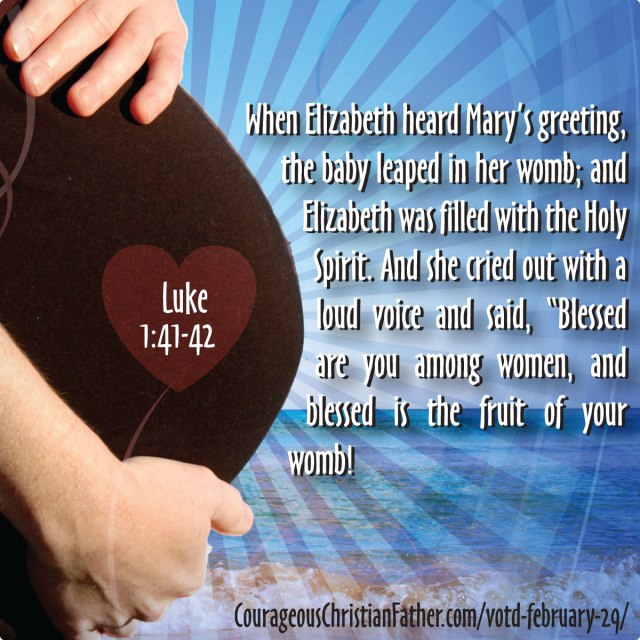 "VOTD February 29 -  When Elizabeth heard Mary's greeting, the baby leaped in her womb; and Elizabeth was filled with the Holy Spirit. And she cried out with a loud voice and said, ""Blessed are you among women, and blessed is the fruit of your womb!  Luke 1:41-42"