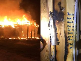 Fire destroys house, stops at scriptures written on studs - Except for several wall studs where Bible scriptures are written, a fire completely destroyed one home off Lobell Road in Livingston Parish in Louisiana Sunday night.