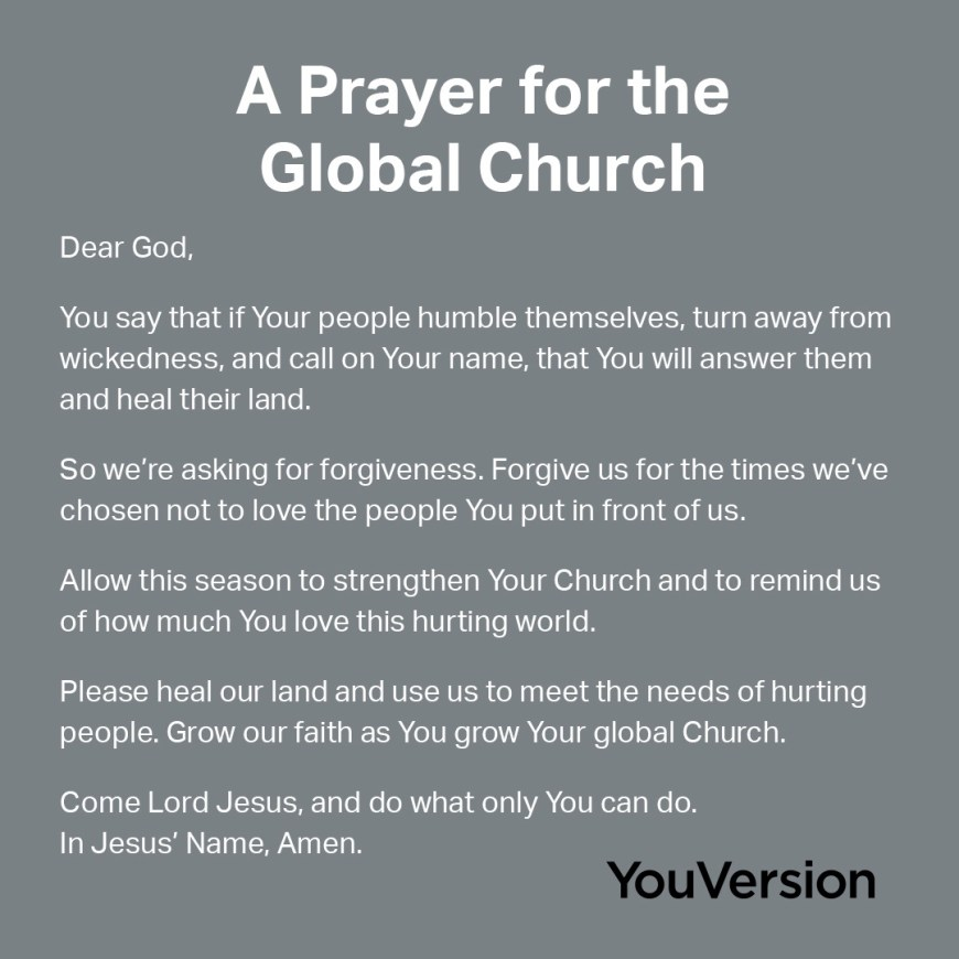 A Prayer for the Global Church - A prayer from YouVersion