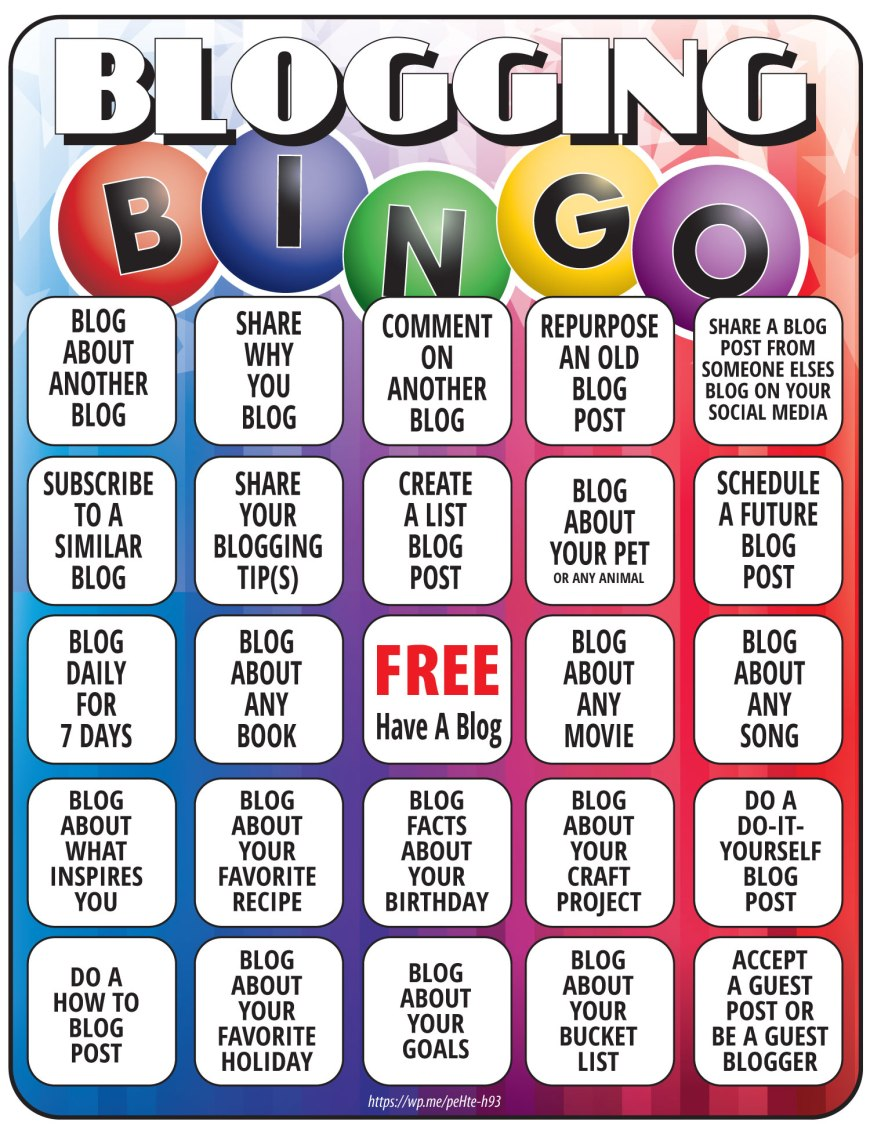 Blogging Bingo Printable - Here is a free Bingo Printable for blogggers. This Bignog sheet has blog post ideas. #Bingo #BloggingBingo