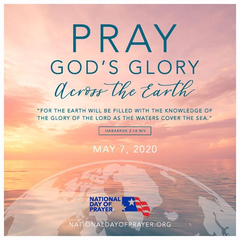 Pray God's Glory Across the Earth - National Day of Prayer 2020 - This years theme is based on Habakkuk 2:14. #NationalDayofPrayer