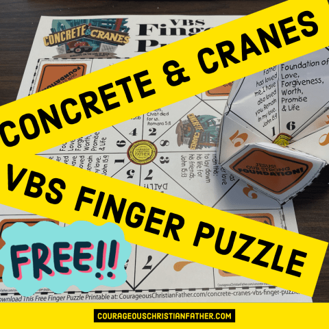 Concrete & Cranes VBS Finger Puzzle - Here is a FREE VBS Printable for the Lifeway's Concrete & Crane VBS. #ConreteCranes #VBSPrintable #FingerPuzzle