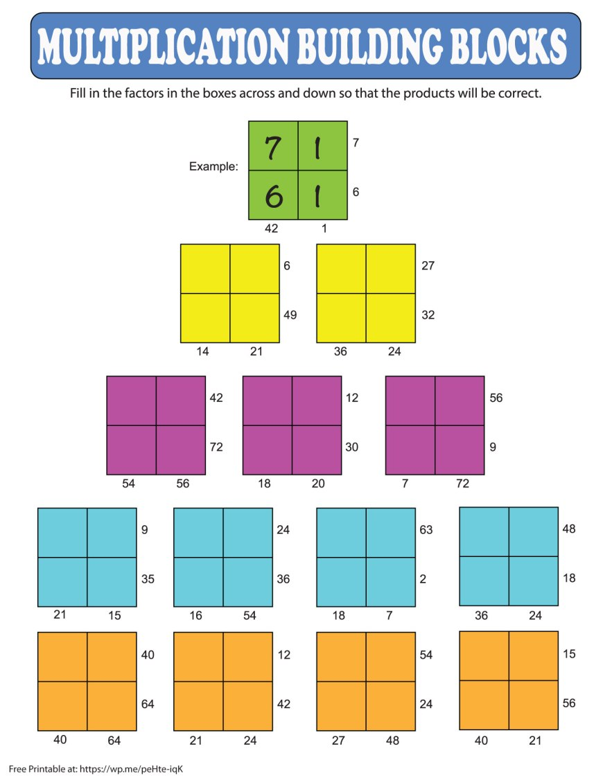 Multiplication Building Blocks Printable - a free math printable for your children to print out and do multiplication. #MathPrintable #MultiplicationPrintable