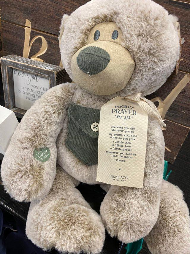 Pocket Prayer Bear this is a teddy bear from Demdaco that also has a pocket on the teddy bear and a prayer on a ribbon. #PocketPrayerBear