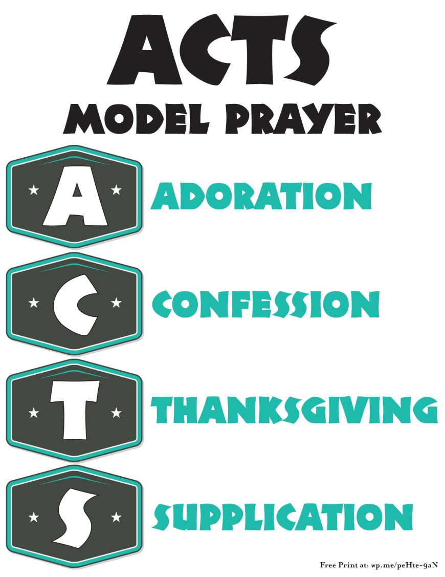 ACTS Prayer Model - an acronym or acrostic for the word ACTS and how it relates to prayer. #ACTS #Prayer (Includes free printable version)