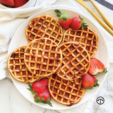 Naturally Boost Your Immunity Year-Round With Vitamin C-Rich Frozen Strawberries - Add a sweet bit of nutrition to your breakfast with California strawberry waffles. #Strawberries Plus a recipe for Strawberry Oat Waffles.