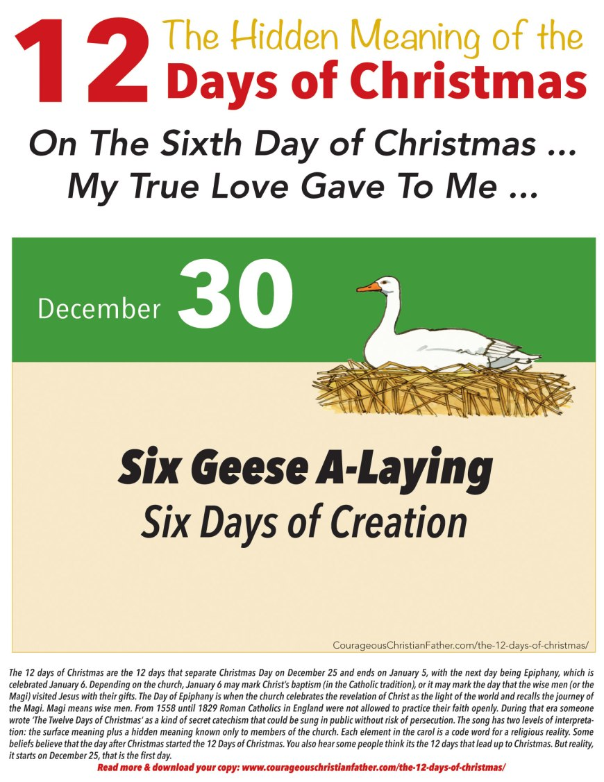 6th Day of Christmas Hidden Meaning Printable