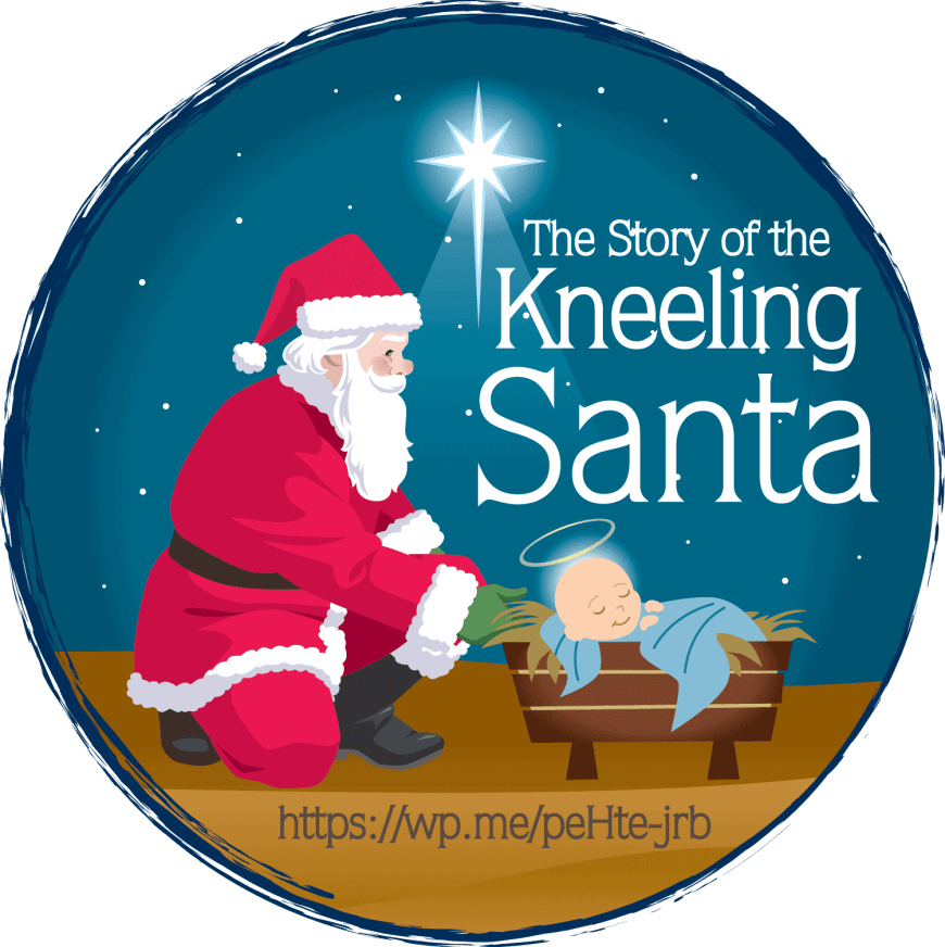 The Story of the Kneeling Santa - Santa Claus is shown kneeling over the manger seeing Baby Jesus bringing the secular and religious parts of Christmas together. #SantaClaus